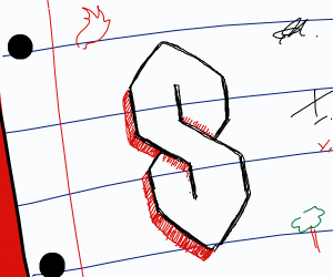 The cool S on notebook paper