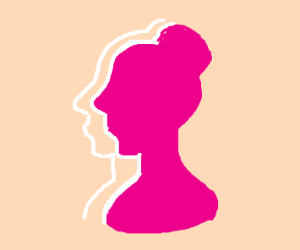 pink silhouette of a woman