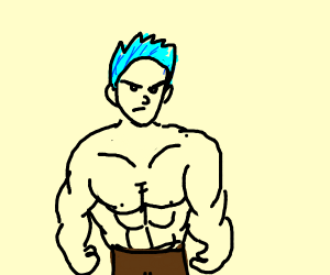 a blue haired muscle man