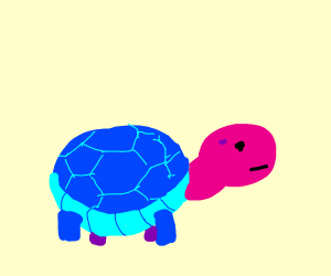 Blue turtle with pink head. . .