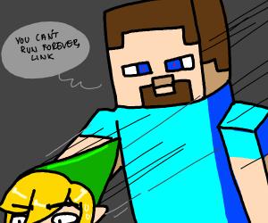 Link runs from minecraft steve