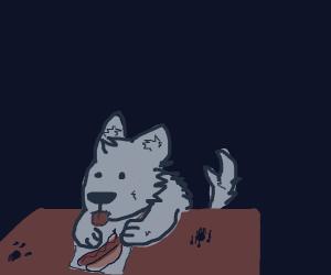 wolf painting a hotdog
