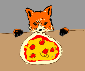 fox eating an entire pizza at once