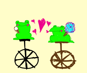 Frogs on unicycles in love