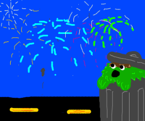 Oscar the Grouch surprised by fireworks