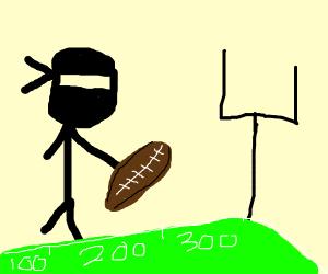 a ninja playing football