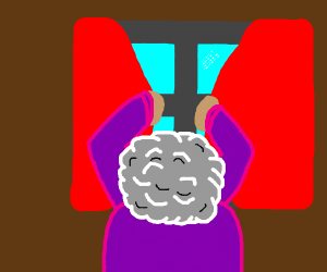 old woman shutting curtains