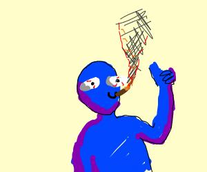 random blue dude smoking a cigar
