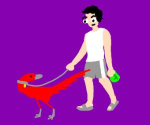 guy walks red dinosaur