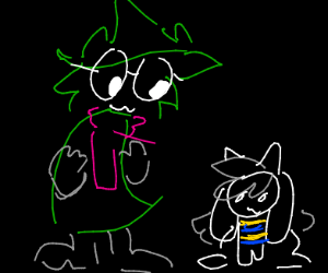 Ralsei looking at Temmie while OwO-ing
