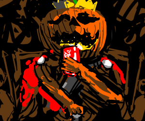 The King of Pumpkins with a can of coke