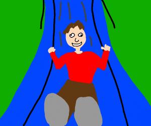 playground with derp kid going down slide