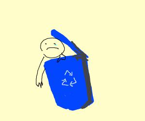 recycling bin eating a human