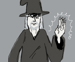 Wizard waving with magic hand.
