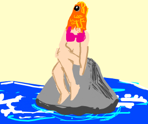 reverse mermaid sitting on a rock