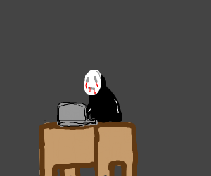 Person with mask has a laptop