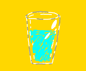 A glass cup is 3/4 full.