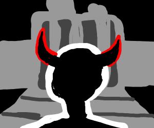 Person enters machine with devil horns
