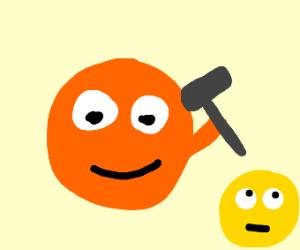 annoying orange holding hammer