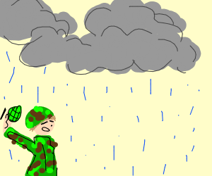 guy throws a grenade in the rain