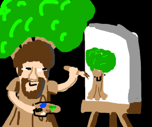 Bob Ross painting trees in a tree costume