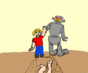 Boy and robot about to sadly high five