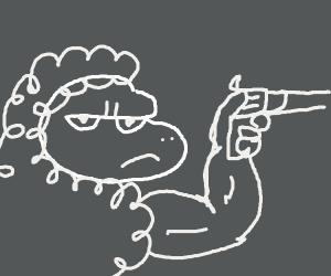 water sheep w human legs has gun