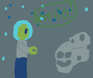 Green lego man meets asteroid in space