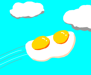 Double Egg Flying in Blue Sky