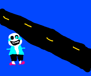 skeleton crosses the road