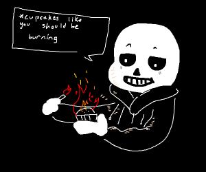 Sans burning a cupcake