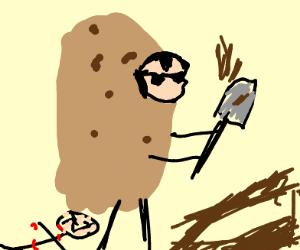 Potato man shovels hole to hide body