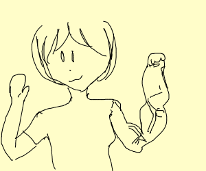 Girl with a buff arm and a normal one