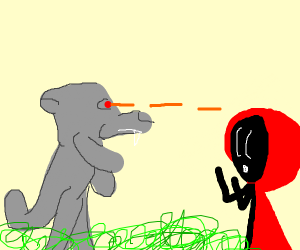 Little red riding hood (wolf has laser eyes)