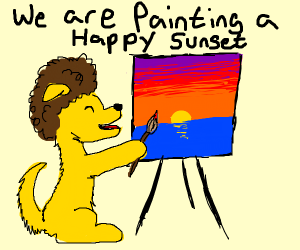 Dog painting a sunset