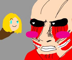 armin makes the colossal titan blush