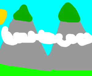 mountains with some grass at the top