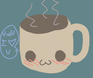 hot cup of coffee blushing
