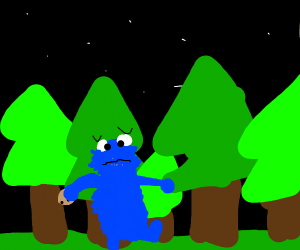 cookie monster is scared in the forest