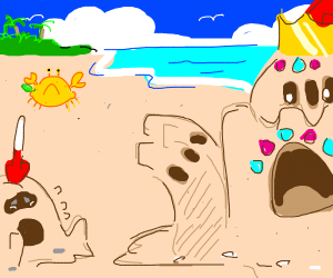 King sand castle and sad peasant sand castle