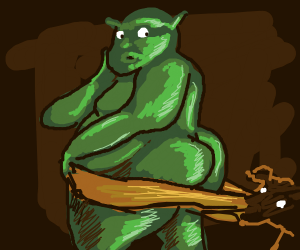 Donkey pulls down Shrek's pants