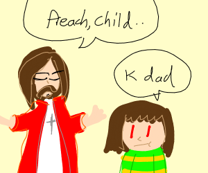 jesus asks chara from undertale to preach