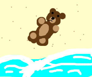 teddy bear on beach
