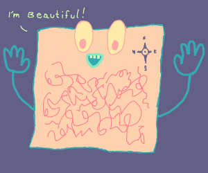 the map from dora admires his scribbles