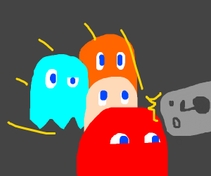 pac man ghosts taking a selfie