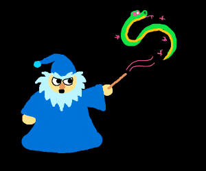 Cute Wizard summons a Snake!