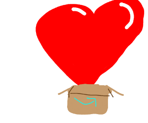 Giant heart in a box