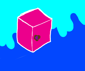 pink cube with a bruise