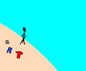 person naked on a beach