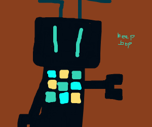 dark robot with neon buttons